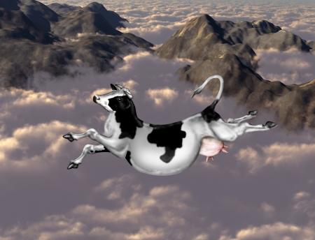 Ilustración de una vaca volando sobre las nubes y las montañas Foto de archivo - 15796625