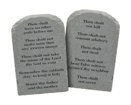 ten commandments: Moses Ten Commandments Stones Isolated on White Background.