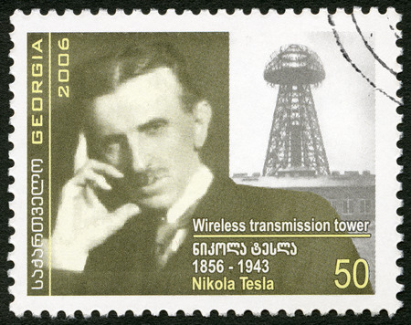 GEORGIA - CIRCA 2006: A stamp printed in Georgia shows Nikola Tesla (1856-1943), inventor, circa 2006 Stock Photo - 50217292
