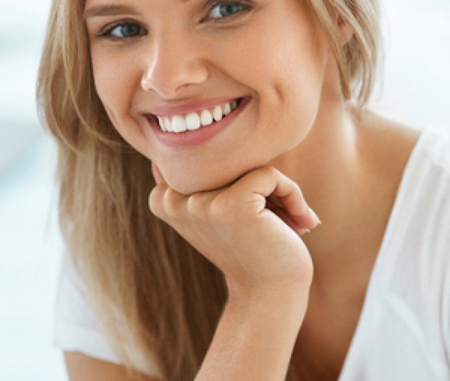 Beautiful Woman Smiling Portrait Of Attractive Happy Healthy Girl With Perfect Smile White Teeth