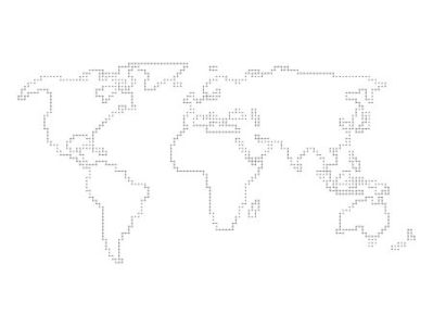 Vector World Map   Outline Made Of Perpendicular Lines Royalty Free      53890720   Vector world map   outline made of perpendicular lines with  black dots