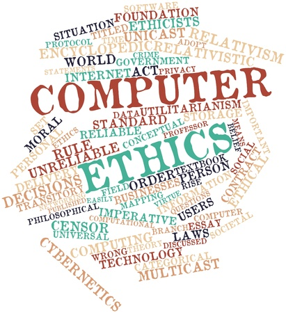 Abstract word cloud for Computer ethics with related tags and terms Stock Photo - 16500496