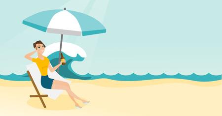 jeune femme assise sur une chaise salon sur la plage illustration de dessin anime vectorielle
