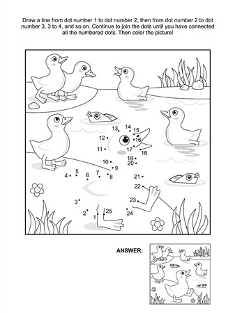 connect the dots picture puzzle and coloring page with ducklings