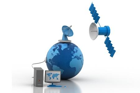 satellite dish: Telecommunications Satellites Stock Photo