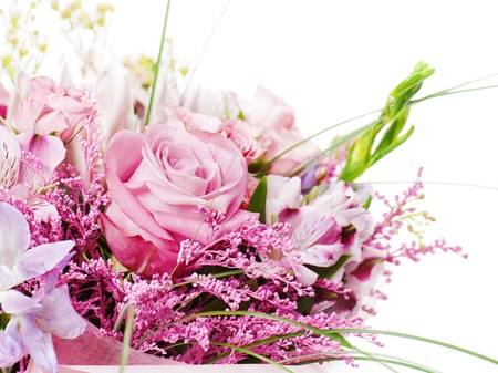 fragment of colorful bouquet of roses, cloves, orchids and freesia isolated on white background Foto de archivo - 19788720
