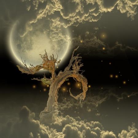 Tree Moon and Stars Stock Photo - 18982908