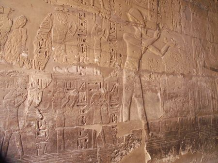 hieroglyphics: Ancient Egytpian Hieroglyphics taken in Karnak Temple, Luxor, Egypt Stock Photo