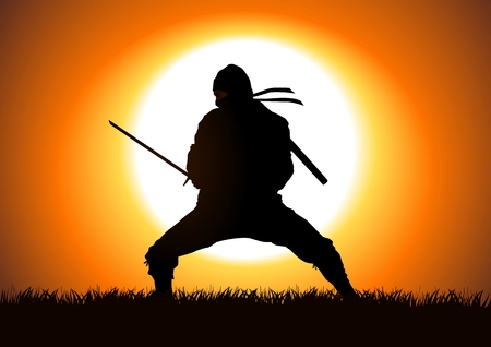 ninja: Silhouette illustration of a Ninja on grass field Illustration