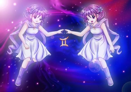 Manga style illustration of zodiac sign on cosmic background, Gemini Stock Illustration - 16683197