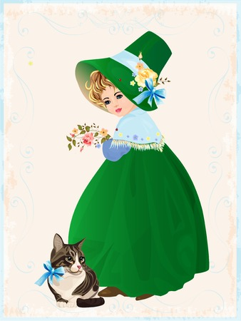 little girl and cat Stock Vector - 7097048