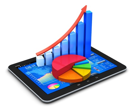 Mobile office, stock exchange market trading, statistics accounting, financial development and banking business concept  modern touchscreen tablet computer PC with stock market application software interface, growth bar chart and pie diagram isolated on w Stock Photo - 20301131