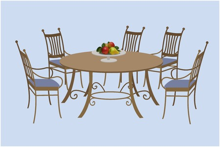 meubles de salon des chaises et une table ronde un bol de fruits vector illustration dessin a la main