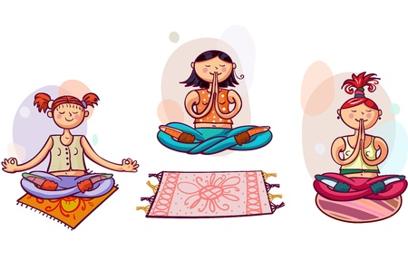 Three young yoga women in lotus poses  Healthy lifestyle Stock Photo - 18585616
