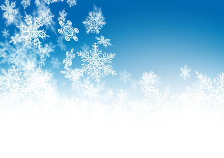 cold: Abstract Azure Blue - Winter Background - with falling Filigree Snowflakes. Cold and Foggy Backdrop with Soft Highlights and Snow Flakes.