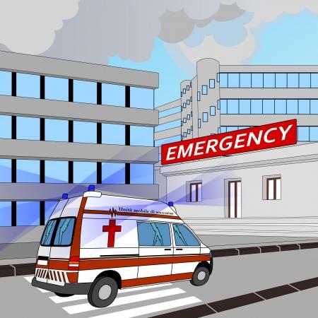 ambulancia con las luces intermitentes en la carrera a la sala de emergencia Foto de archivo - 15147123