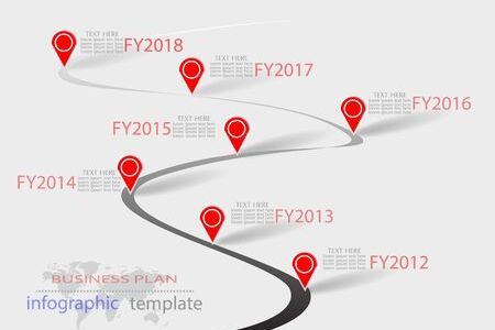 Vector Infographic Company Milestones Timeline Template Or Business     Vector   Vector Infographic Company Milestones Timeline Template or  business plan with pointers on a curved road line