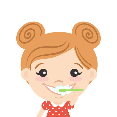 Young Girl Brushing Her Teeth Royalty Free Cliparts  Vectors  And      56506279   Vector illustration of happy cute girl cleaning her teeth with  toothpaste and toothbrush  Teeth brushing