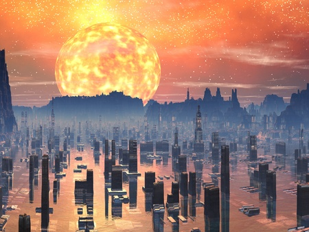 planet futuristic: Flooded Future City with Red Giant Sun