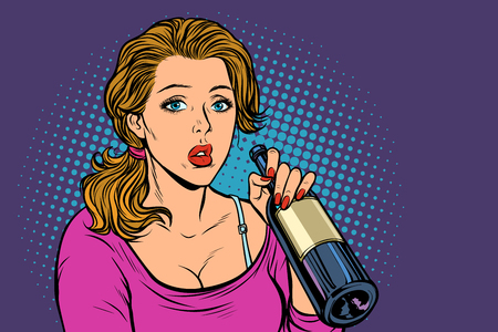 Woman drinking wine from a bottle. Loneliness and sadness. Pop art retro vector illustration vintage kitsch Stock Vector - 128167725