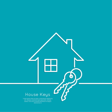 home: The concept of the house turnkey. Icon home and keychains. flat design. minimal. outline.