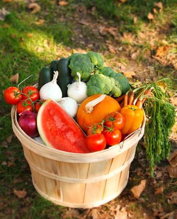basket with organic fruits and vegetables. Stock Photo - 38811465