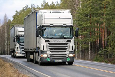 Salo Finland March 17 2017 Two White Scania R420 Curtainsider Semi Trailer