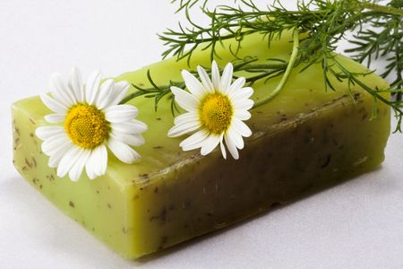 Skin care, natural handmade soap with chamomile Stock Photo - 3665231