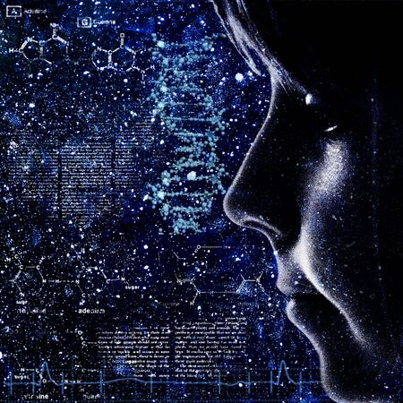 Evolution. Abstract science backrounds with female portrait Stock Photo - 14446448