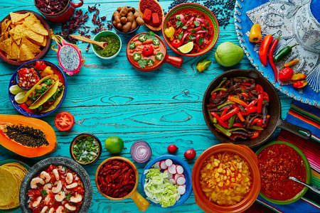 hot spices spicy: Mexican food mix copyspace frame colorful background Mexico
