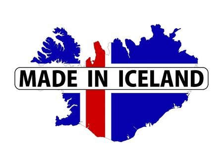 iceland silhouette: made in iceland country national flag map shape with text