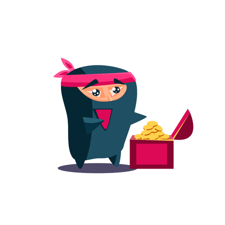 Cute Emotional Ninja Found a Chest with Treasure. Flat Vector Illustration Stock Vector - 49749875