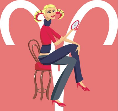 Illustration girl Aries Stock Illustration - 43791798