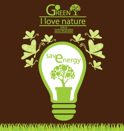 SAVING ENERGY ICONS: Go green, Save world vector illustration