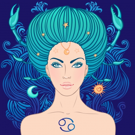 Illustration of cancer zodiac sign as a beautiful girl. Vector illustration. Stock Vector - 24677328
