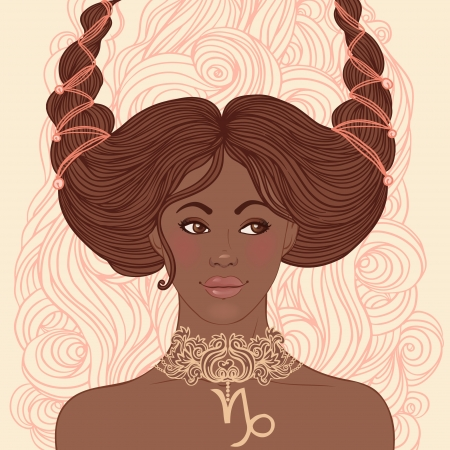 Zodiac beautiful girls set (African American version). Capricorn. Stock Vector - 24677335
