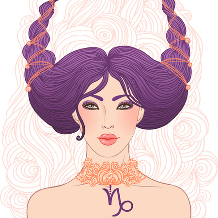 Illustration of Capricorn astrological sign as a beautiful girl isolated on white. Vector art.  Stock Vector - 24674878