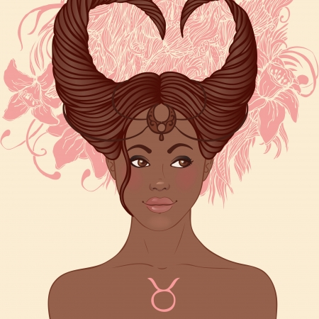 Zodiac beautiful girls set (African American version). Taurus.  Stock Vector - 24674905