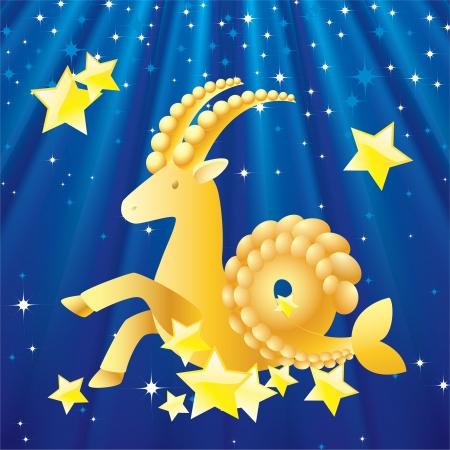 Zodiac - Capricorn Zodiac Capricorn the background of stars and rays  Stock Photo - 14983435