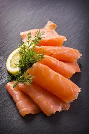 saumon fumé: saumon fum? Banque d