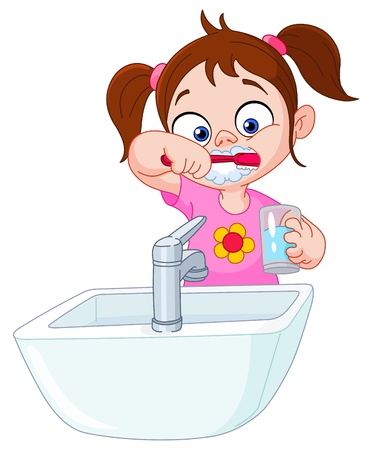 Outlined Young Girl Brushing Her Teeth  Vector Illustration Coloring      10657102   Young girl brushing her teeth