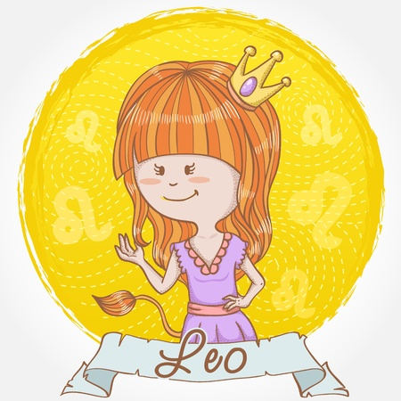 Illustration of Leo zodiac sign in cute cartoon style as a girl dressed like a queen with a crown and lion tail Stock Vector - 13035292