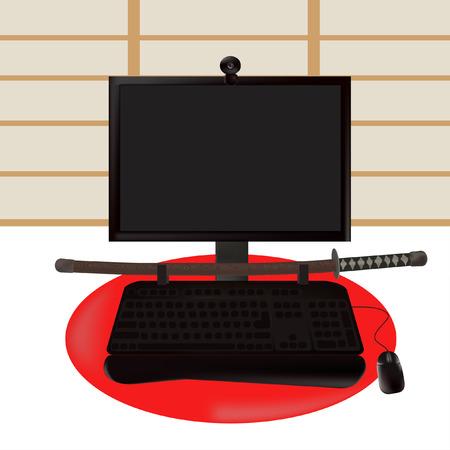 computer ninja: Black samurai. illustration to your conceptions.
