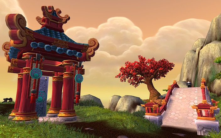 A screenshot of the Wandering Isle zone from World of Warcraft: Mists of Pandaria