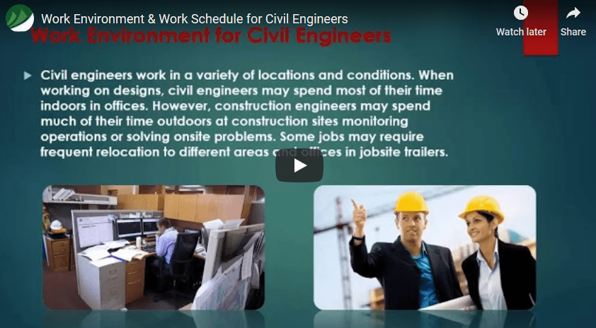 Work Environment & Work Schedule for Civil Engineers