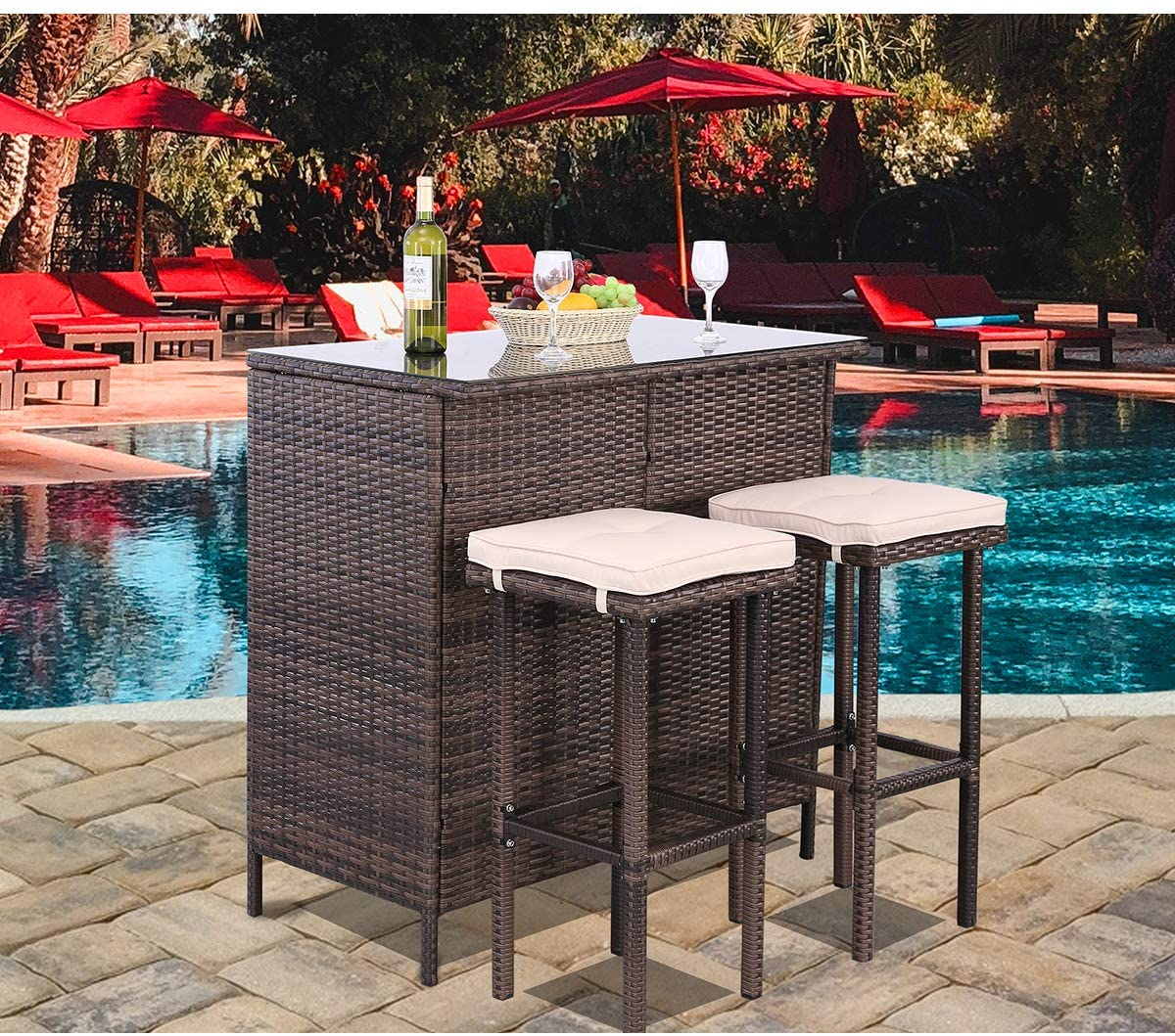 polar aurora 3pcs patio bar set with stools and glass top table patio wicker outdoor furniture with beige removable cushions for backyards porches