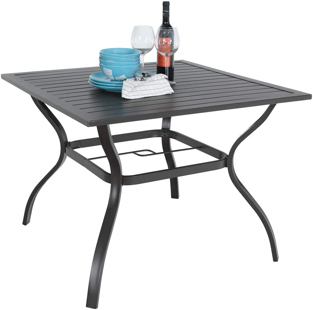 37 x 37 patio outdoor dining table with umbrella hole square bistro metal steel slat table for garden backyard poolside deck black