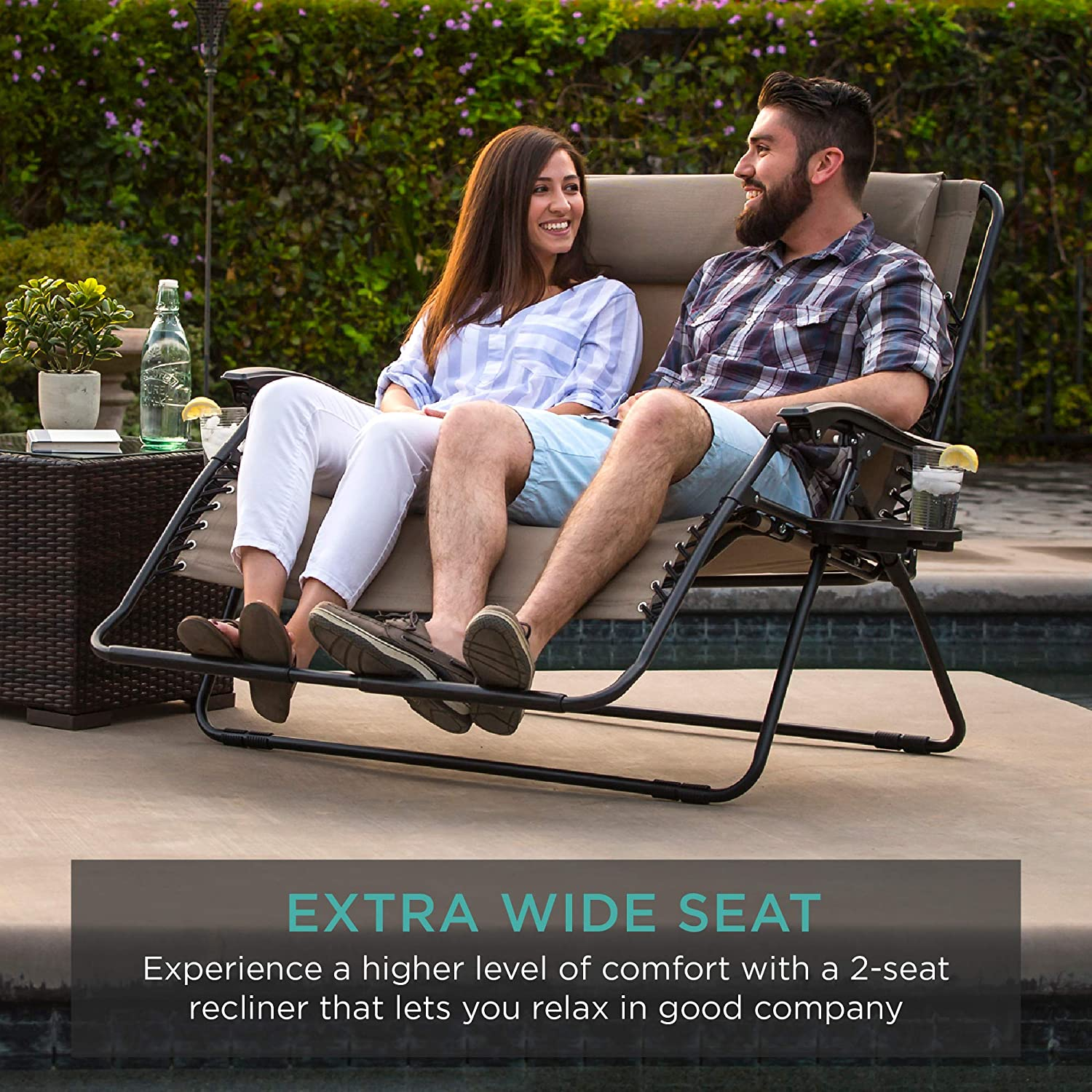 2 person double wide adjustable folding steel mesh zero gravity lounge recliner chair for patio lawn balcony backyard beach outdoor sports w cup