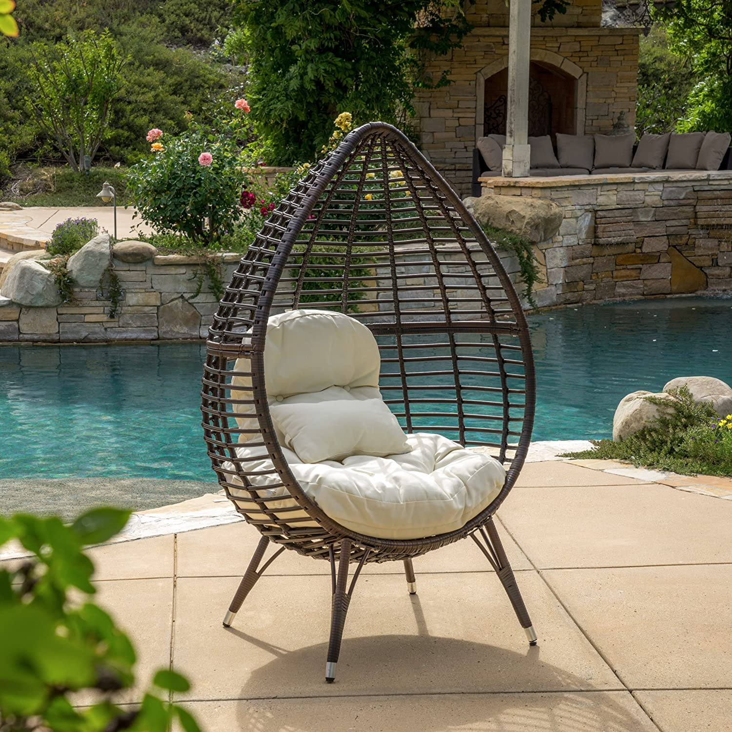 cutter teardrop wicker lounge chair with cushion multibrown