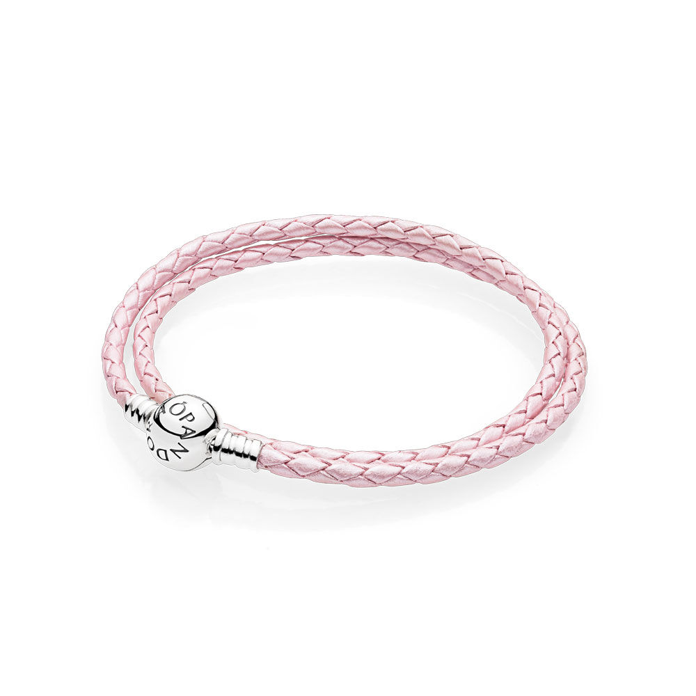 Pink Braided Double Leather Charm Bracelet PANDORA